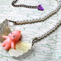Darling Kewpie Doll Cupid Angel Pearl Necklace