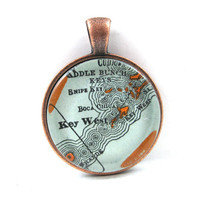 Key West, Florida, Pendant from Vintage Map, in Glass Tile Circle