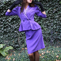 1940s purple suit 80s style peplum / by thewitcheryvintage on Etsy