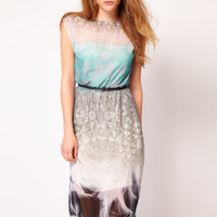Warehouse Feather Print Midi Dress at asos.com