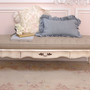 SOLDShabby Cottage Cream Bench with Flax Linen Tufted Top - $650 - The Bella Cottage