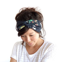 Turban Headband Black Floral