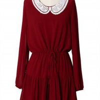 Crochet Cut Out Collar Dress in Red - New Arrivals - Retro, Indie and Unique Fashion