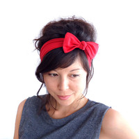 Red Lycra Skinny Bow Tie Hairband