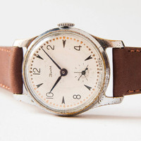Russian wristwatch ZIM - vintage men's watch - brown leather watch