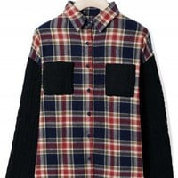 Cable Knit Check Shirt in Red/Navy by Chic+ - New Arrivals - Retro, Indie and Unique Fashion