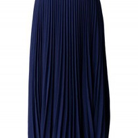 Navy Blue Pleated Maxi Skirt - Retro, Indie and Unique Fashion