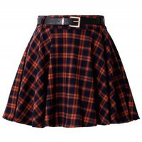 Orange Plaid Skater Skirt with Belt - Retro, Indie and Unique Fashion