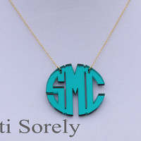 "Mirror Acrylic Initials Necklace 1.5"" (Order  your initials and favorite color) -Silver chain"
