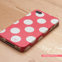 case for iphone 4 iphone 4s case , iphone case , Iphone 4, Blackberry mobile Case handmade: Red polka dot