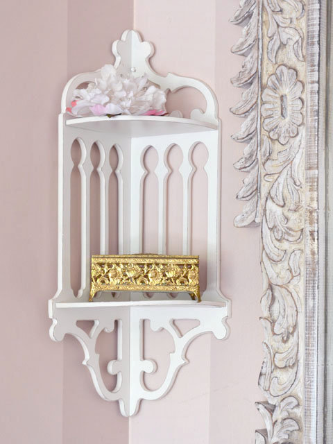 SOLD BF841 - Elegant Chic White Corner Wall Shelf - &amp;#36;95 - The Bella Cottage
