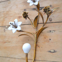 Metal Ceramic Flower Hook in White and Gold - &amp;#36;17 - The Bella Cottage