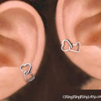 925 Double heart  - sterling silver ear cuffs, non pierced earcuff earring jewelry  102512