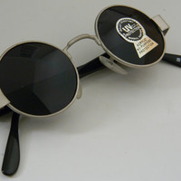 Vintage Deadstock John Lennon Wire Frame ROUND/CIRCLE SUNGLASSES in Matte Silver Brushed