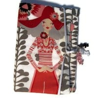 Cell Phone Clutch Case Gadget Lady in Red Hat Vines Flowers Pink