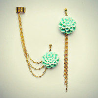 mint flower ear cuff and earrings, chain ear cuff, ear cuff with gold chains, asymmetrical earrings