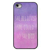 Iphone 4 case - quote Iphone case - she believed she could so she did - girly Iphone case for Iphone 4 and 4s - watercolor - pink