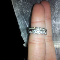 14k White Gold Diamond Ring Set - Wedding Band & Engagement Ring