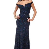 Scala Navy Sequin Evening Dress Gown 14208 Size 16 NWT New Prom Formal