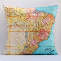 Vintage BRAZIL Map 18″ x18″ Pillow Cover