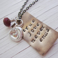 True love handstamped brass necklace