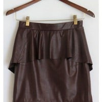 Leatherette Peplum Skirt