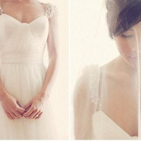 Vintage Tulle Wedding Dress Beaded Cap Sleeves Plus Size Wedding Dress Bridal Gown Bridesmaid dress Prom Ball Gown Dress with Train
