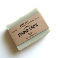French Green Soap - Natural Soap, Vegan Soap, Unscented Soap, Handmade Soap, Cold Process Soap,