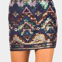 Techtonik Mini Skirt - Navy at Necessary Clothing