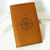 Compass Rose Moleskine Cahier Cover - Refillable Tobacco Brown Leather - Fits Moleskine, Clairefontaine 3.5 x 5.5 inch Cahier Notebooks