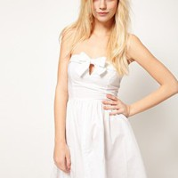 ASOS Bandeau Dress With Bow Front at asos.com