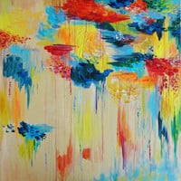 CUSTOM Abstract Acrylic Painting HUGE 30 x 30 Made to Order, FREE Shipping, Vancouver Rain Colorful Rainy Storm Cloud Canada Gift Art Wow