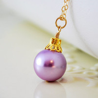Lavender Necklace Glass Pearl Christmas Ornament Ball Wire Wrapped Gold Filled Jewelry Whimsical Holiday Complimentary Shipping