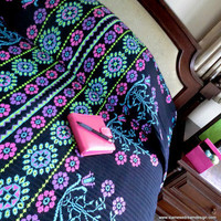 Vivid Pink, Blue, Green &amp; Purple Hmong Bedspread