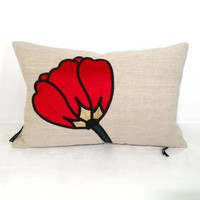 Red Pillow Cushion Decorative Silk Throw Pillow by Mazizmuse