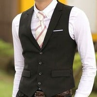 Collar Vest Black — Tanny's Couture LLC