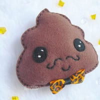 Kawaii cute funny plush Mister Moustache Poo by AllyStar on Etsy