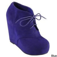 Hailey Jeans Co. Women's 'Denali' Sueded Lace-up Wedge Booties | Overstock.com