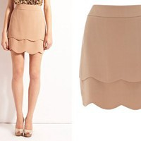 Retro To Go: Tan Scallop Skirt from Oasis