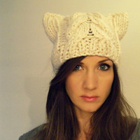 Cat hat cable beanie - Cloud