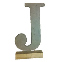 Rustic Large 10&quot; Cement Letter J with Barnwood Base