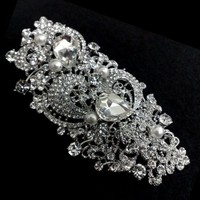 Bridal Dress Sash Brooch, Swarovski Wedding Jewelry, Art Nouveau - GEORGINA