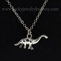 Dinosaur Necklace, antiqued silver dinosaur necklace