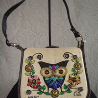 Vtg 60s Wise Guy Jeweled Owl Enid Collins Shoulder Bag Purse Leather Piping