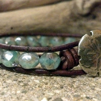 Crystal Mint Beaded Leather Wrap Bracelet, Shabby Chic, Boho