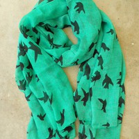 Sparrows in Flight Verte Scarf [9991] - $16.00 : Vintage Inspired Clothing & Affordable Fall Frocks, deloom | Modern. Vintage. Crafted.