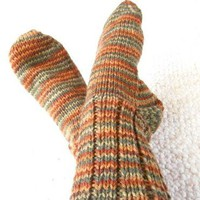 Socks Worsted Weight Hand Knit Autumn Stripes Unisex 7 to 9