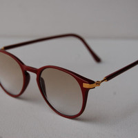 Vtg Semi Clear UV Ray Glasses Clubmaster Red Gold Bans Wayfarer Sunglasses A70