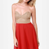 Ta-ra-ra Bustier! Taupe and Red Dress