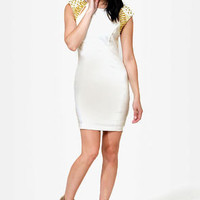 Golden Times Ivory Beaded Dress